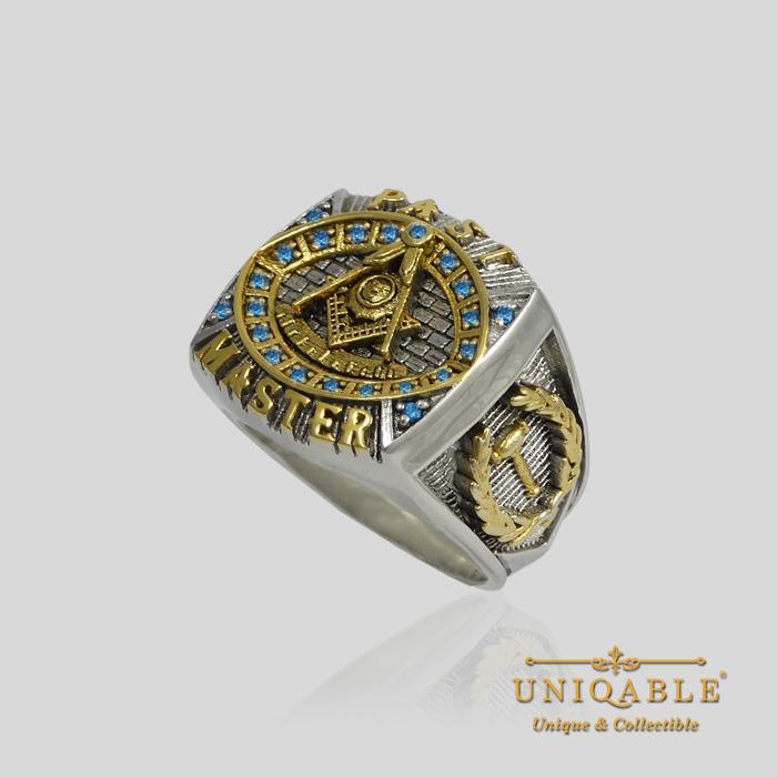 Past Master Masonic Sterling Silver 925 Mason 18k Gold Pld