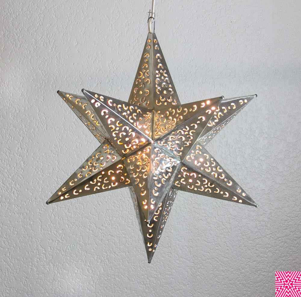Moravian Star Punched Metal Tin Pendant Light Lamp Hanging