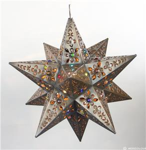 Moravian Star Punched Pierced Metal Tin Stained Gl Colored Marbles Light Lamp