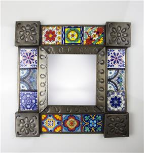 Ceramic Talavera Tile Punched Tin Metal Mexican Mirror Mexico Handcrafted Wall 4