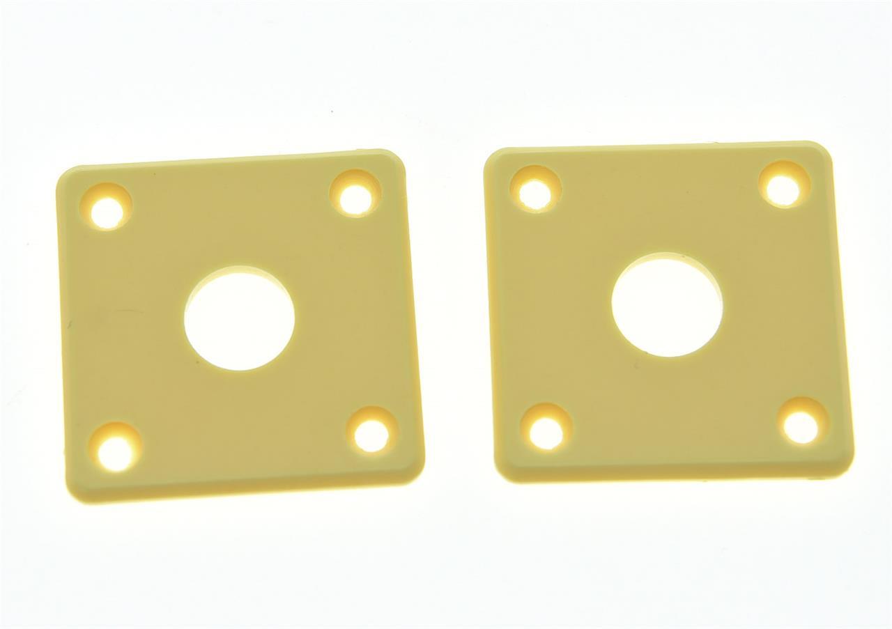 Plastic Flat Base Guitar Jack Plate Square Jackplate Cream