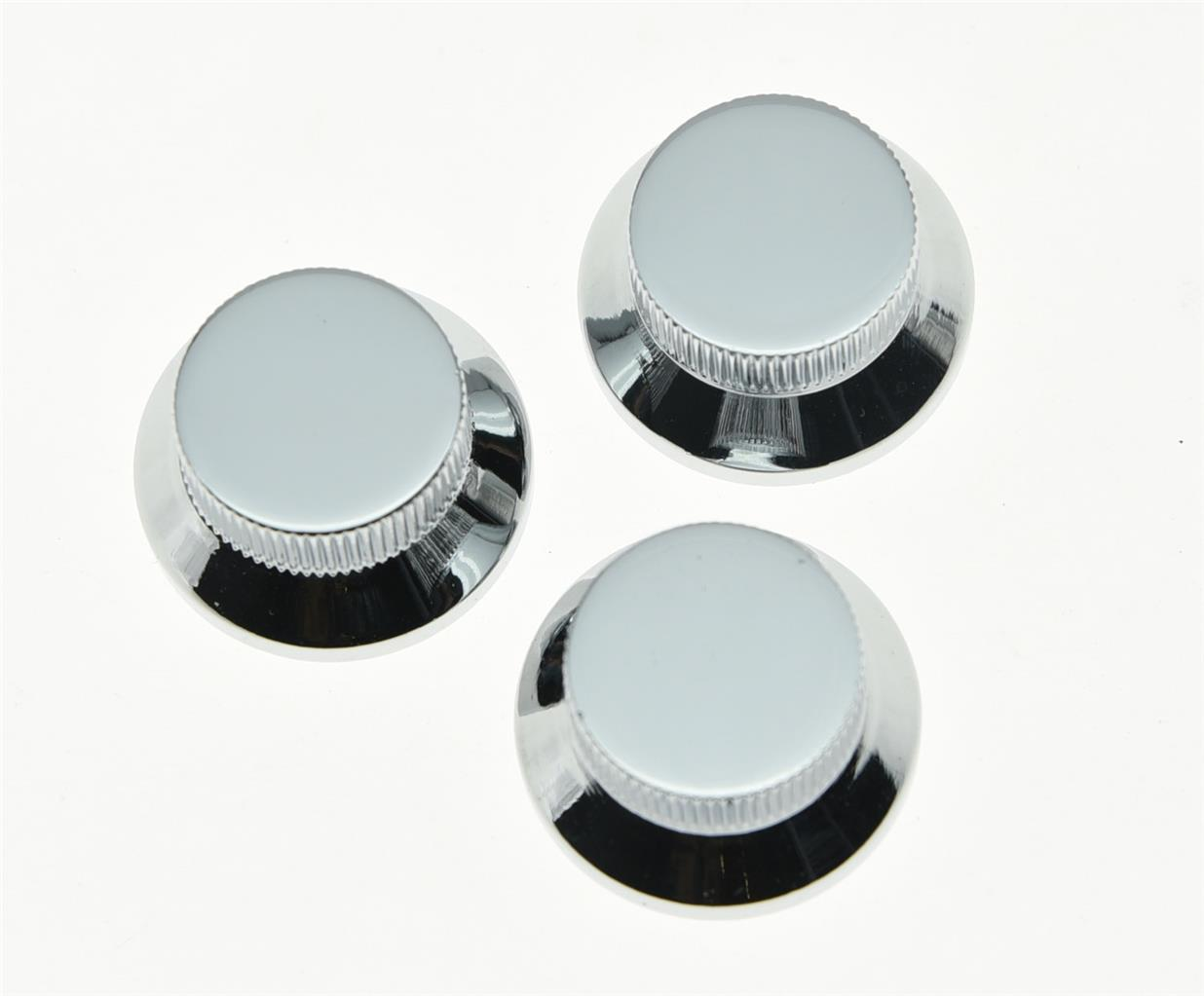 3pcs Chrome Metal St Strat Knobs Top Hat Bell Guitar Bass