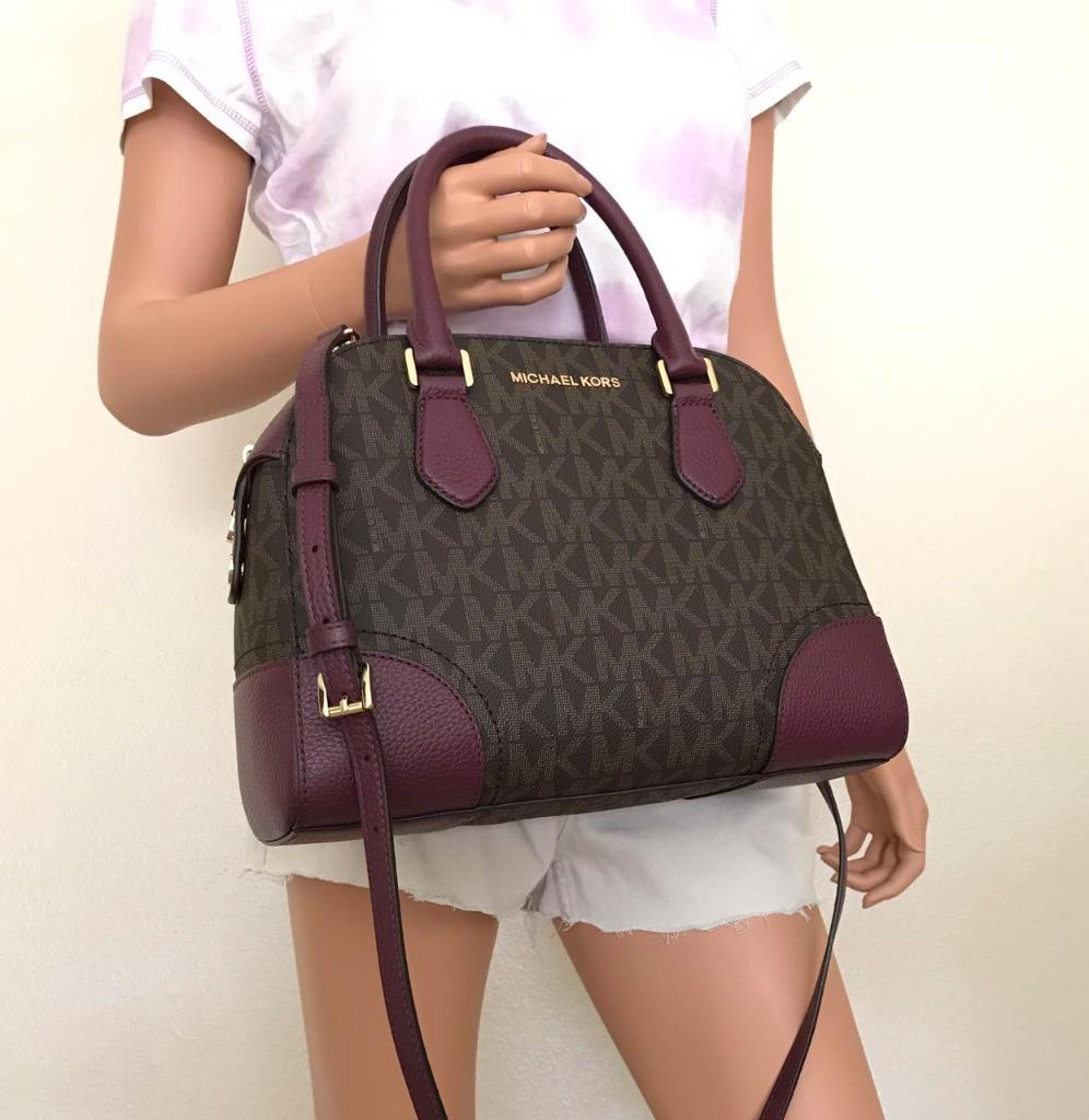 7bffecabf6a3a0 Description. New With Tag 100% Authentic This list is for a new Michael  Kors Hattie Medium PVC Leather Satchel Crossbody Bag, Brown/Plum ...