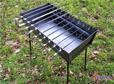 Portable Case Barbeque Grill Mangal BBQ Kabab Shashlyk Stove Camping Steel 10