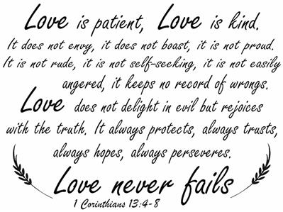 "1 Corinthians 13:4-8 BIBLE VERSE Quote /""Love is patient/"" Wall Art vinyl Decal"