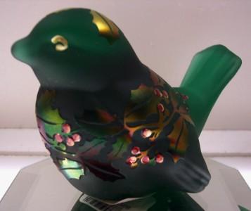 Fenton Bird Emerald Green Carnival SAND CARVED 5163H8 LTD EDTN #d 144