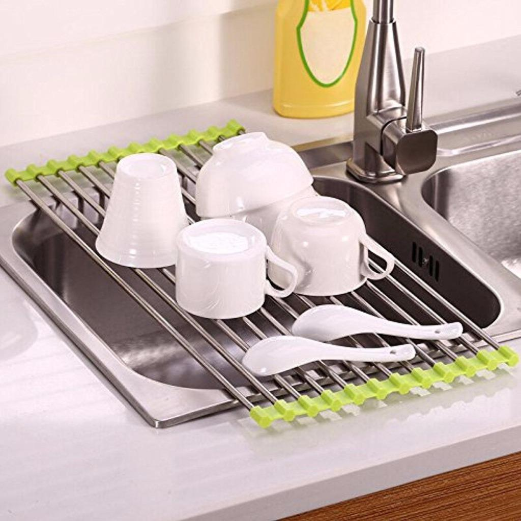 Space Saving Kitchen Gadgets Kitchen Over Sink Stainless Steel Silicone Dish Drying