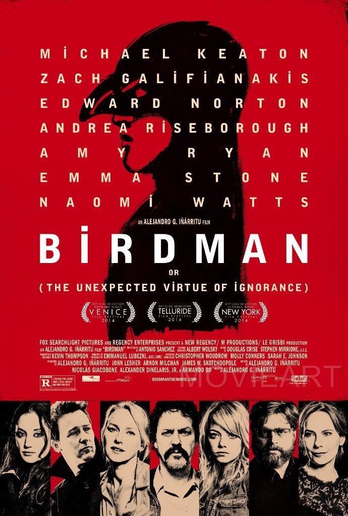 BIRDMAN TEXTLESS MOVIE POSTER FILM A4 A3 ART PRINT CINEMA
