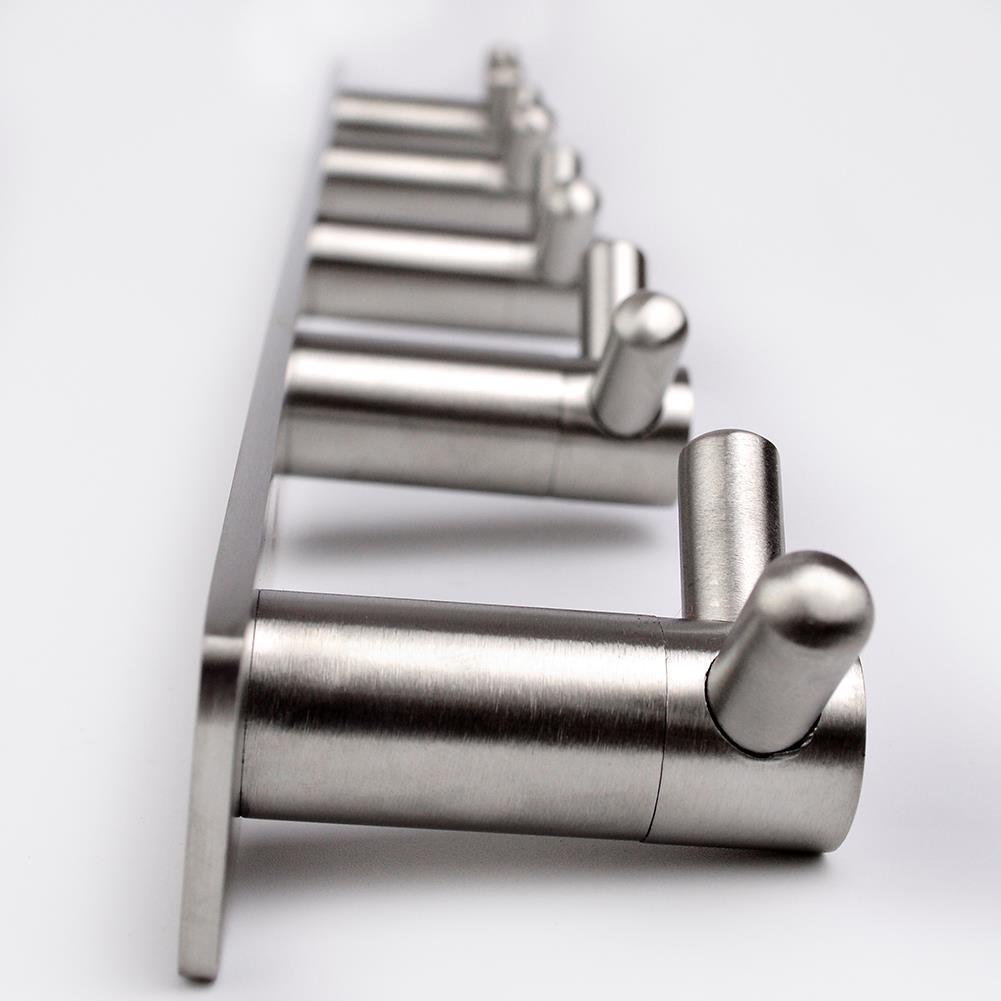 304 Stainless Steel Towel Hook Rail Coat Rack With 5