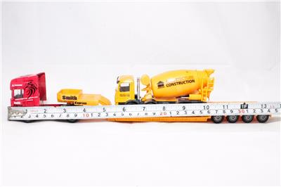 Affluent Town 1:64 Die-Cast Scania Carrier Trailer Truck /& Concrete Mixer Model