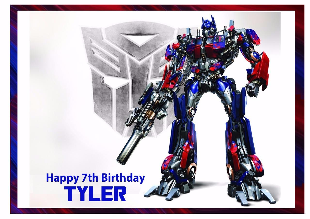 Transformers Optimus Prime A4 Edible Icing Cake Topper