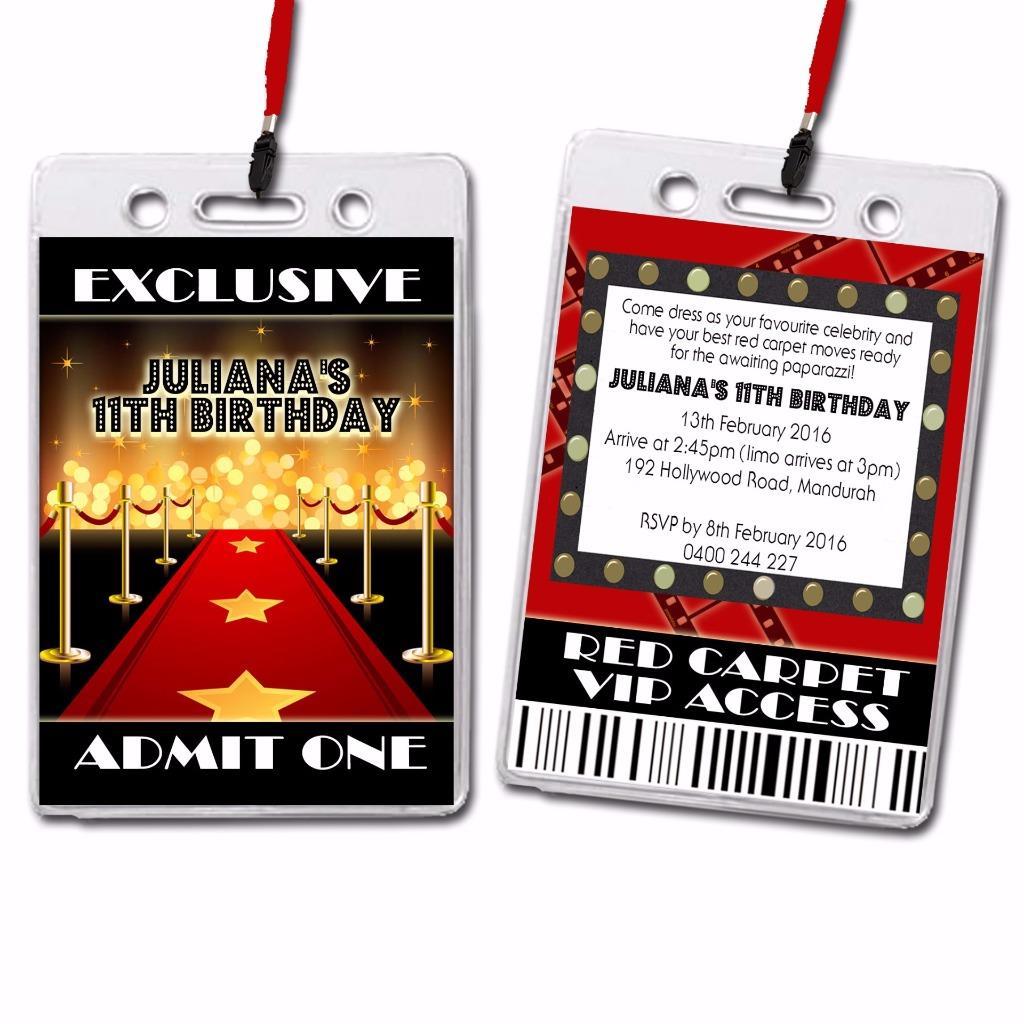 Red Carpet Hollywood Vip Lanyard Birthday Invitation Ebay
