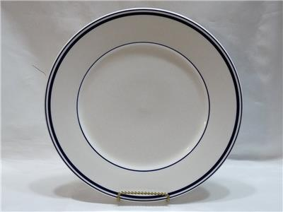 Cuisinart Dinnerware Dinner Plate 10-5/8  in diameter blue stripes Paris Blue. Very heavy! Discontinued Pattern. Use marks and some stains under glaze. & Cuisinart Dinnerware Paris Dinner Plate Blue Stripes 10-5/8