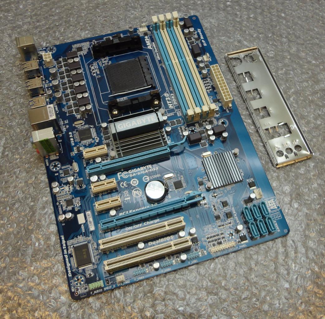 gigabyte ga 970a ds3 rev 1 1 socket am3 am3b motherboard with back plate ebay. Black Bedroom Furniture Sets. Home Design Ideas