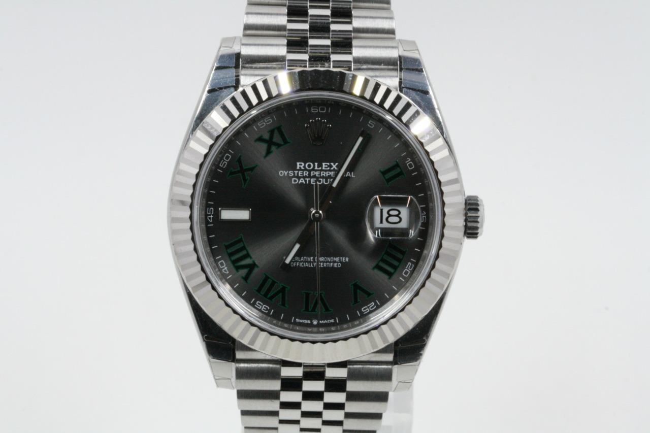 Details about Rolex Datejust 41 Model 126334 Slate Dial Green Roman  Numerals Box \u0026 Booklets