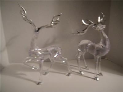 2 large acrylic reindeer christmas decorations silver horns 14 and 10 vgc