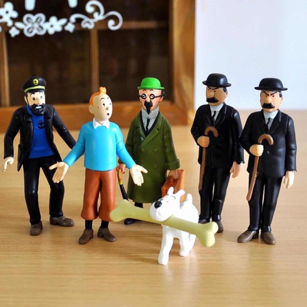 FIGURINES 6 pcs//lot Les Aventures de Tintin Milou Pr tournesol  de Collection