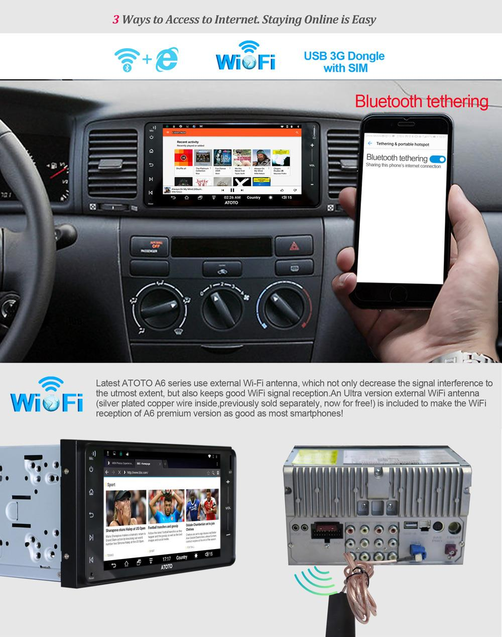 for Select Toyota//Subaru ATOTO A6 Pro Android Car Navigation Stereo -2X Bluetooth w//aptX /& Quick Charge Pro A6YTY721PR Indash Entertainment Multimedia Radio,WiFi//BT Tethering Internet New