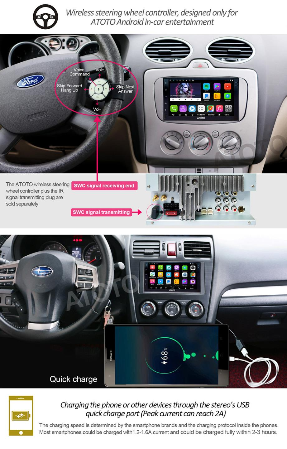 atoto a6 android car gps stereo 2a charge a6tyt711p 2s. Black Bedroom Furniture Sets. Home Design Ideas