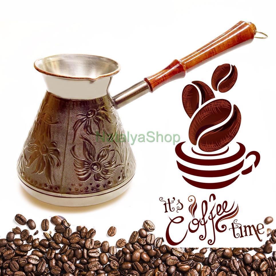 Cezve Turkish Coffee Pot Wooden Handle Ibrik Solid Hammered Copper Coffee Maker