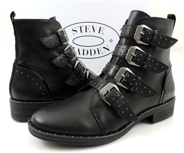 95f8f47c581 Womens Shoes Steve Madden Pursue Buckle Studs Ankle Boots Leather Black  Size 7