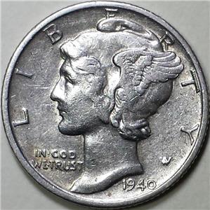 1940-D Mercury Silver Dime AU FREE SHIPPING