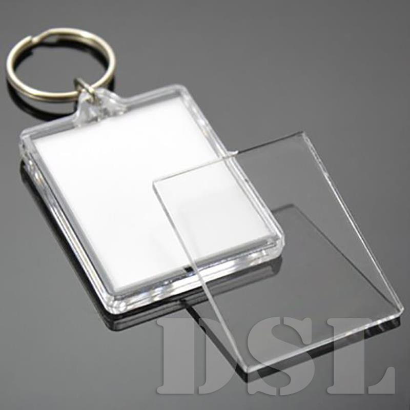 35x24mm Insert Clear Blank Acrylic Photo Keyring Personalise Plastic