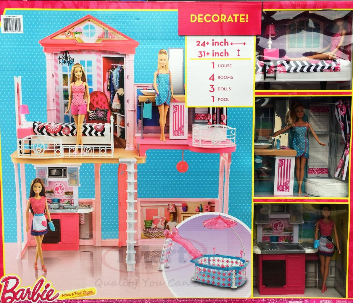 Barbie house with glam swimming pool includes 3 barbie dolls kids girls toys new 887961370232 ebay for Barbie doll house with swimming pool