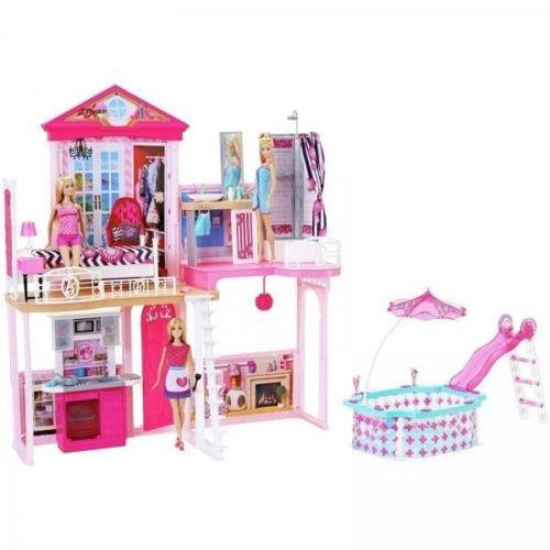 Barbie House With Glam Swimming Pool Includes 3 Barbie