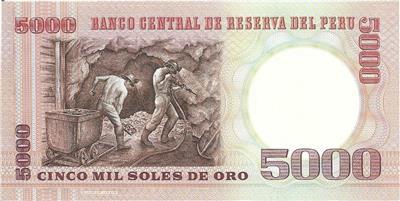 * Colonel and Miners UNC from 1985 PERU 5000 Soles De Oro P 117e