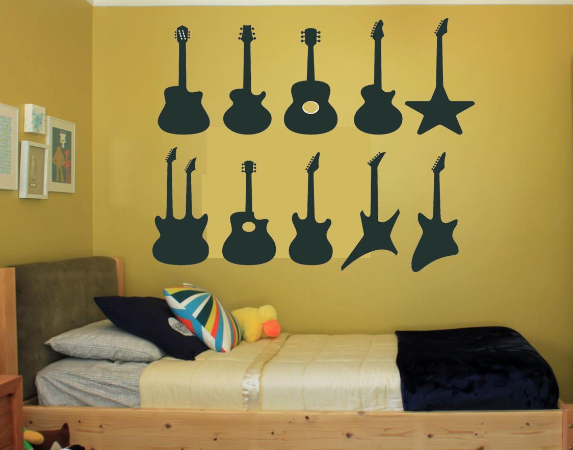 x10 Guitar Silhouette Wall Art, Teenager Bedroom, Living Custom ...