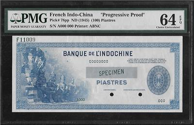 Details about French Indochina P-78pp 100 Piastres 1945 Progressive Proof  PMG 64 EPQ