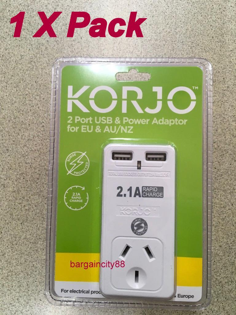 New Korjo 2 Port Usb Travel Plug Adaptor For Europe And