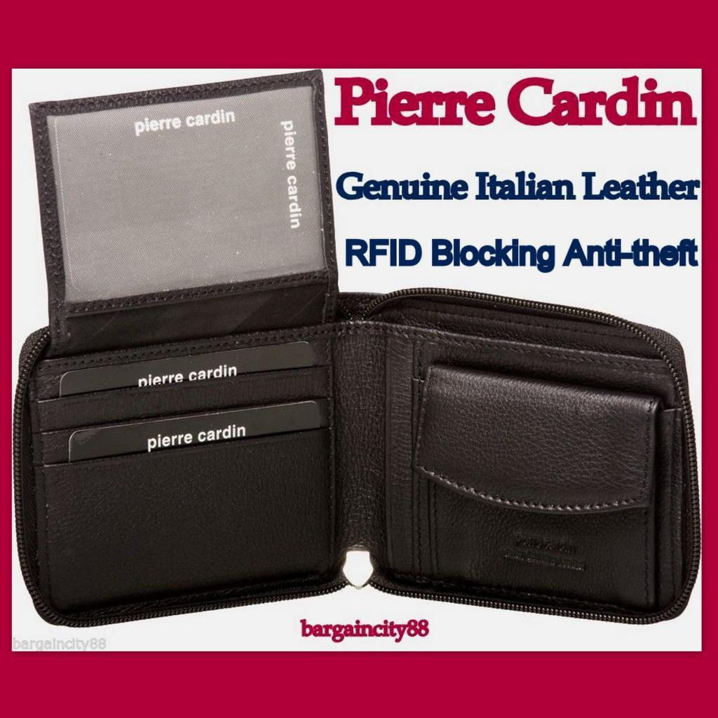 0eed83eb4f5c Details about Pierre Cardin RFID Blocking 100% Italian Leather Mens Zip  Around Wallet+gift Box