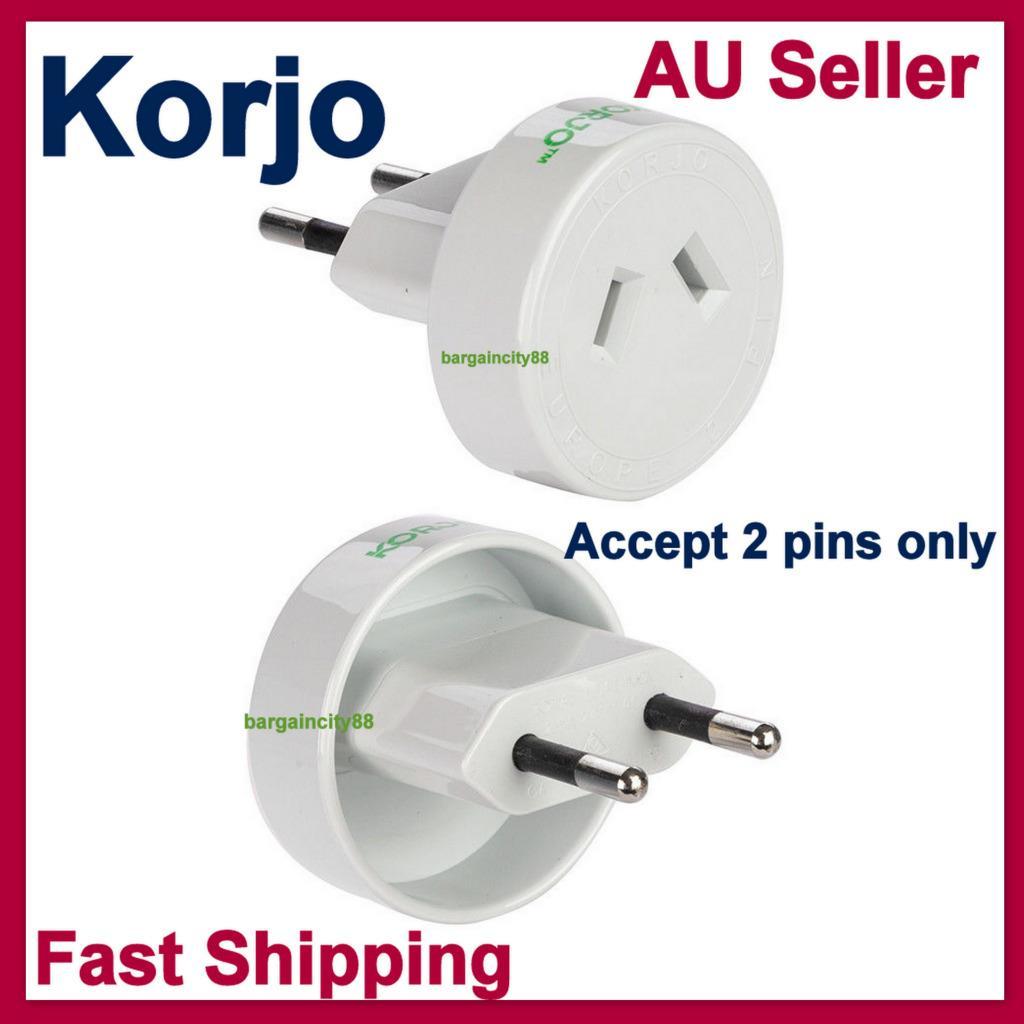 Korjo 250v Travel Power Plug Adapter To Eu Italy Switzerland Brazil Europe 2 Pin Ebay