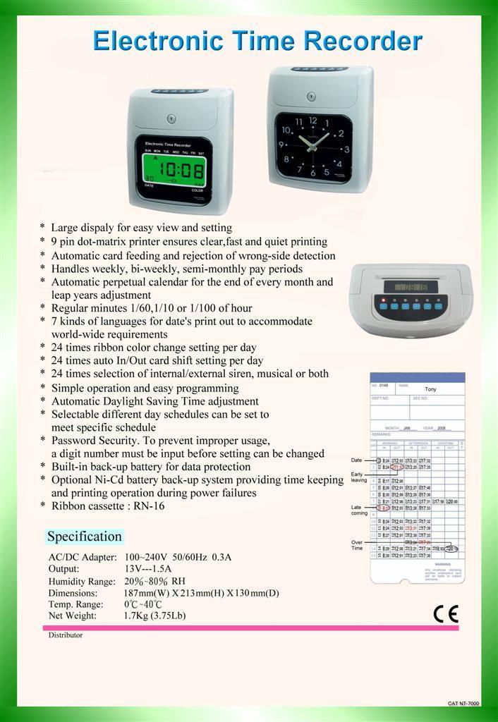 time card x 50pcs user manual - Electronic Time Card