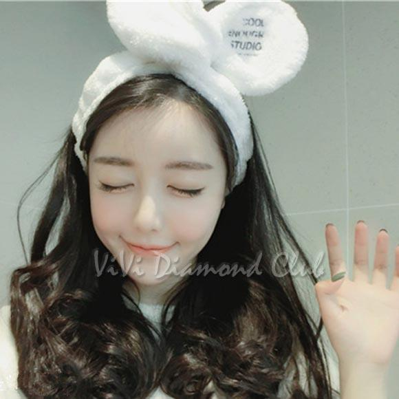 This auction is for ONE (1) Korean Style Rabbit Ear Soft Towel Headband  Hair Wrap for Bath Spa Makeup    fe819f6e64f2