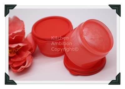 Brand New TUPPERWARE 4 oz  Snack Cups Set/2 Containers W/Seals Red