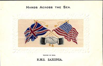 Details about Stevengraph Silk Ship R M S Saxonia Hands Across the Sea  Postcard