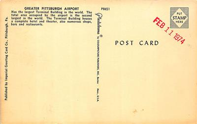 Details about Pittsburgh PA Airport TWA Prop Airplane Postcard