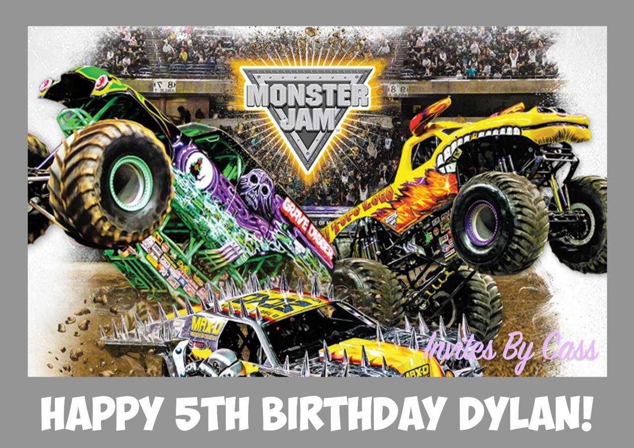 Monster Jam Monster Truck A4 Edible Image Cake Topper Birthday Party Kids Adults Ebay