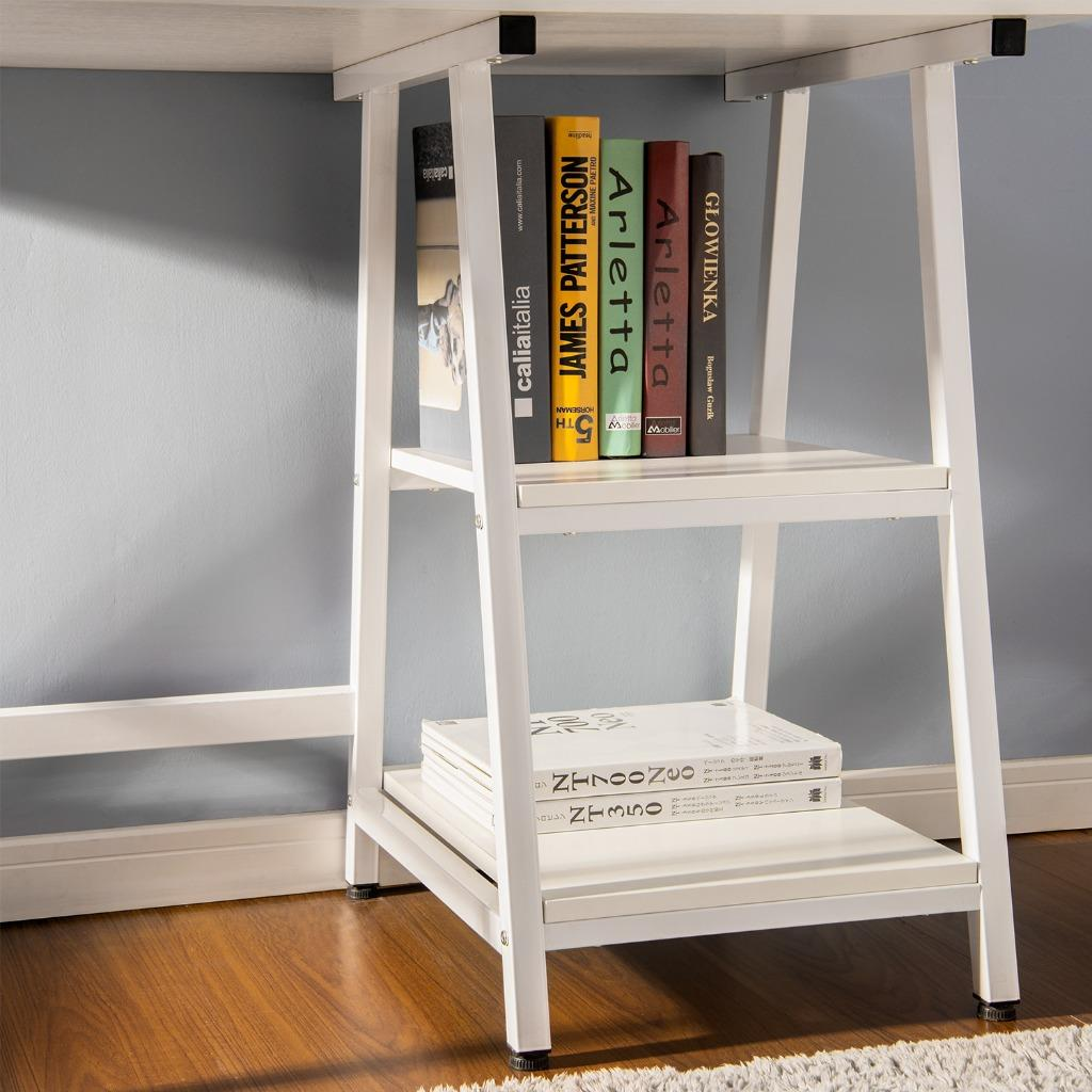 Computer Desk With 2 Shelves Storage PC Table Home Office
