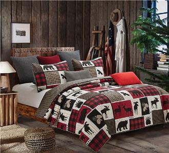 LODGE LIFE  T//FQ//K Quilt Set BLACK BEAR DEER MOOSE CABIN RED BUFFALO PLAID CHECK