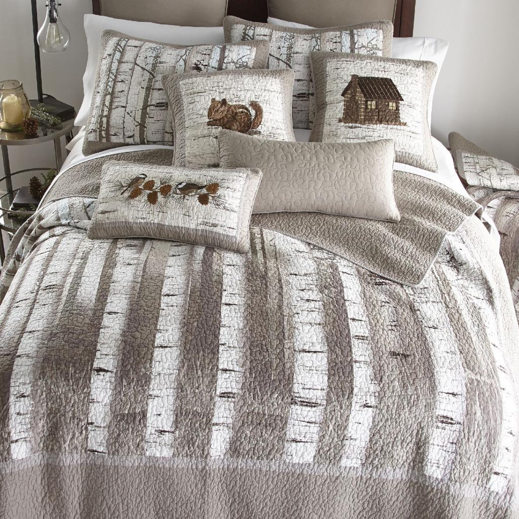 Donna Sharp Birch Forest Quilted Farmhouse Rustic Country King Quilt Gray White Ebay