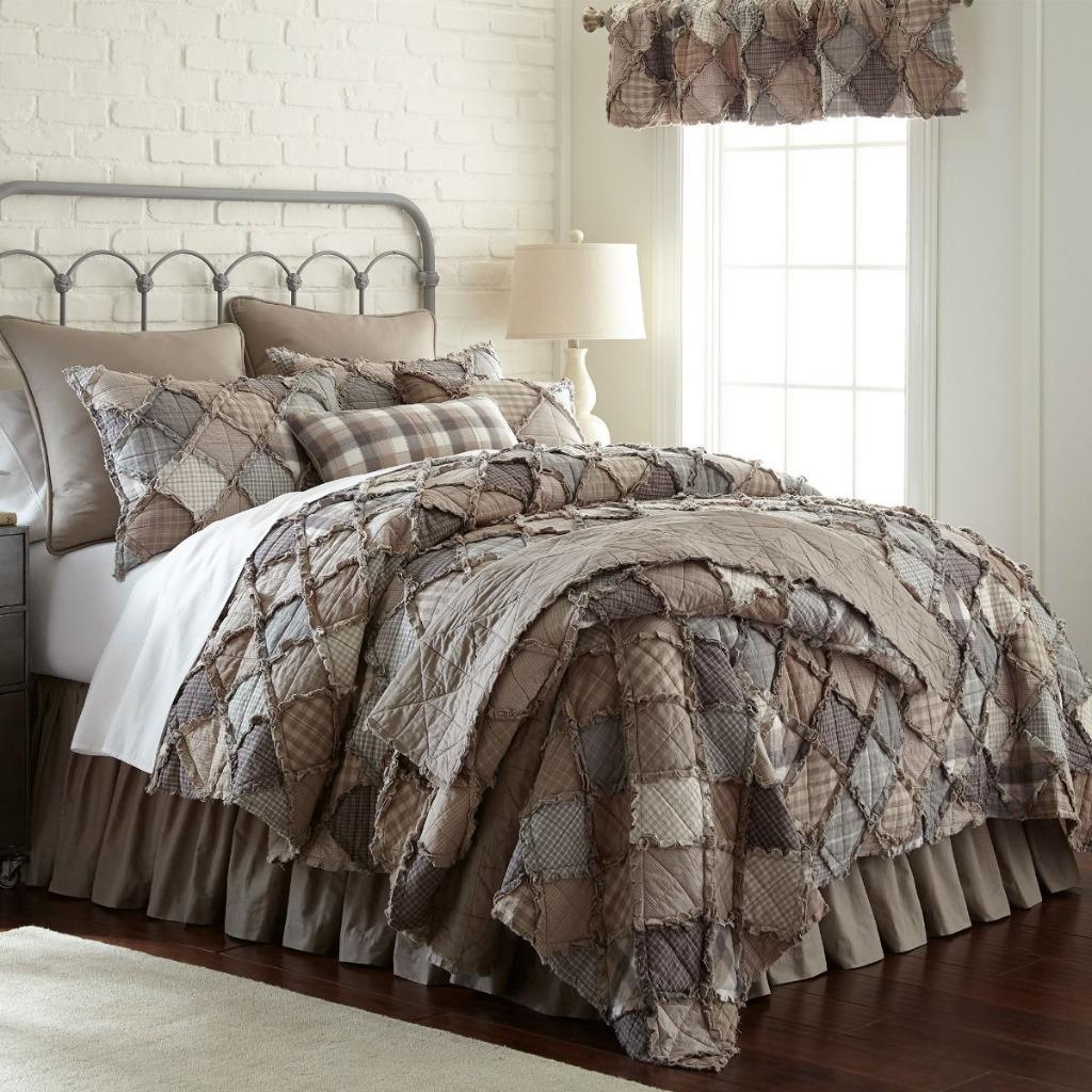 Details about Donna Sharp Smoky Mountain Rag Quilt Farmhouse Country KING 3 Piece Set & Clock