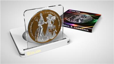 """Germania 2019 5 Mark The Allegories i-color Edition /""""BRINK PINK/"""" 1Oz Silver Coin"""