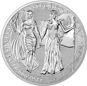 2019 The Allegories 10 Mark Britannia /& Germania 2oz .9999 Silver Coin