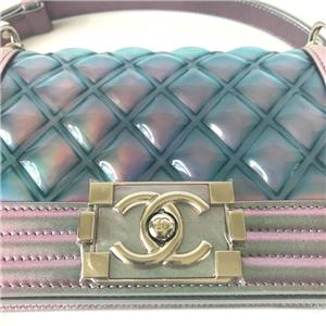 48ee4e2a76fa RARE RUNWAY CHANEL SMALL BOY BAG Iridescent Mermaid Patent Calfskin Flapbag  18S