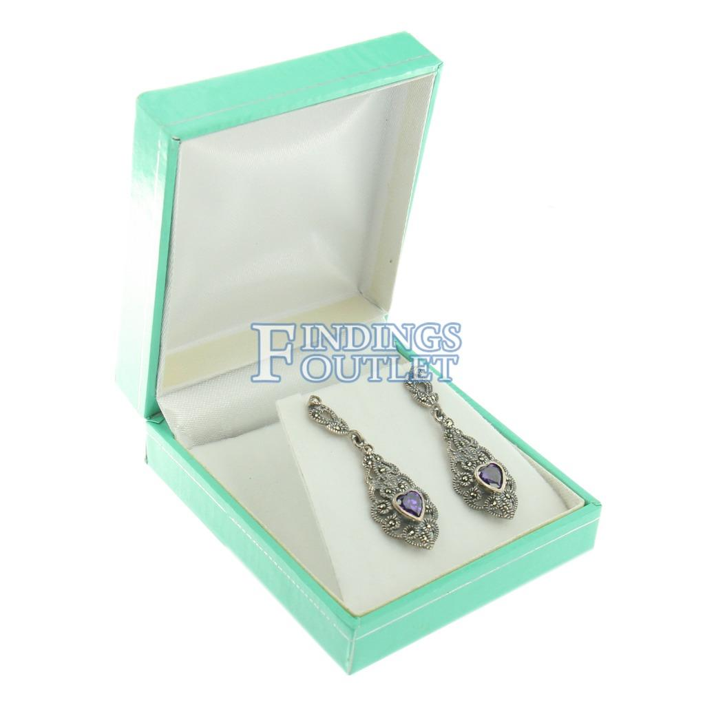 """100 Teal Blue Cotton Filled Jewelry  bracelet earring chain Gift Boxes 3 1//4/"""""""