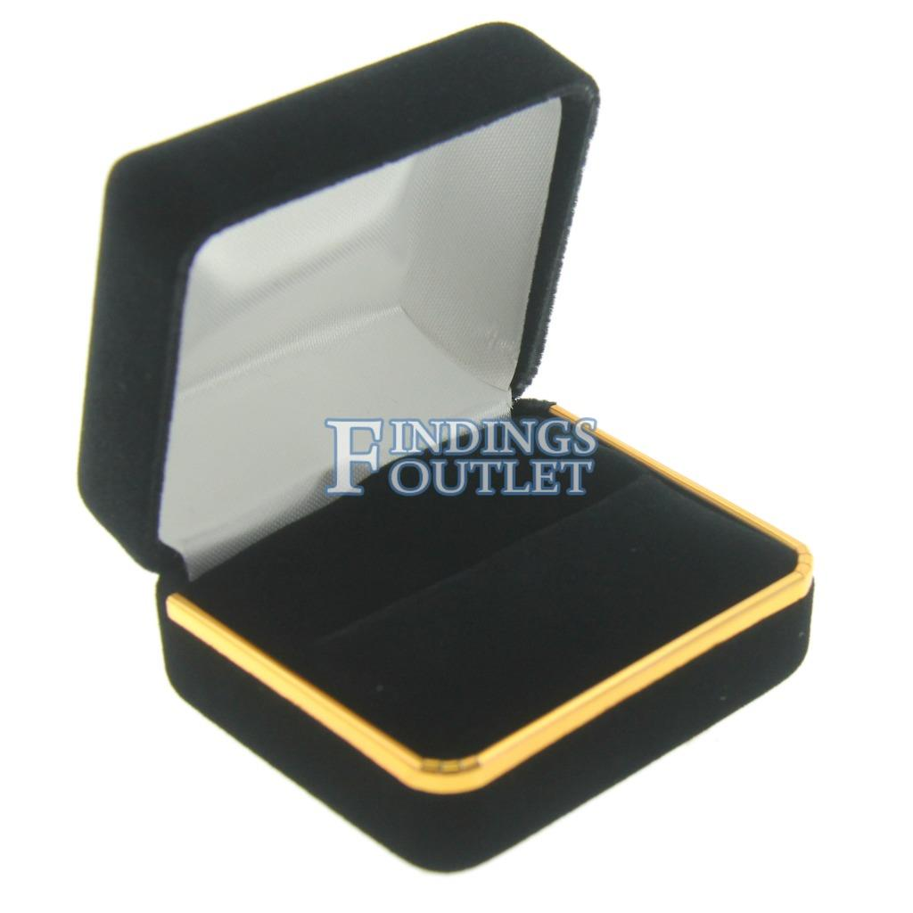 Lot Of 12 Black Leatherette Finger Ring Boxes With Gold Trim